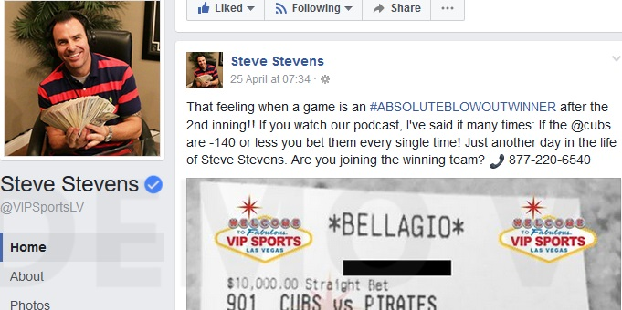 "Steve Stevens Bets Big ""Every Single Time"" When The Cubs Are -$140 Or Less."